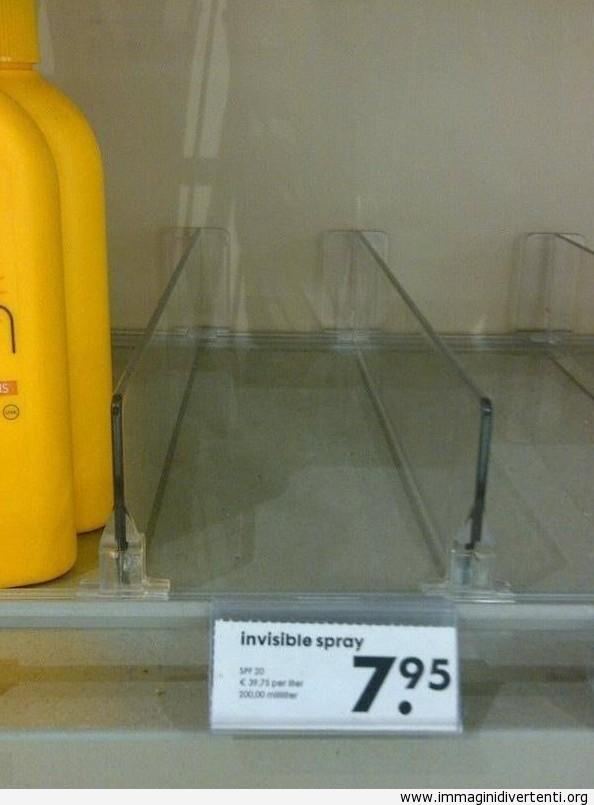 Oggi ho comprato un spray invisibile immaginidivertenti.org