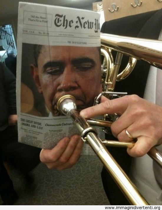 Obama suona la tromba immaginidivertenti.org