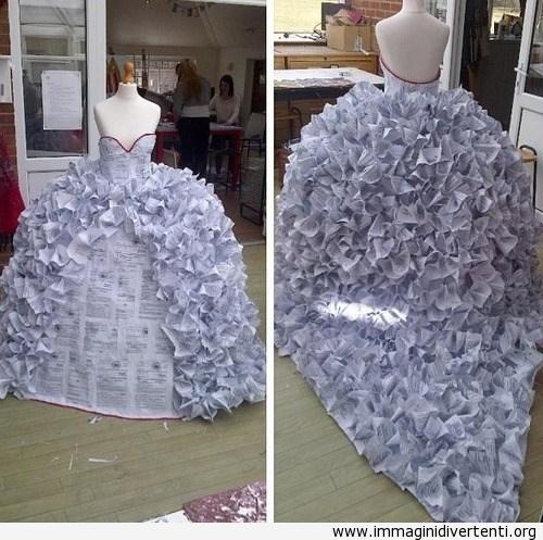 Studenti d'arte fanno l'abito da sposa con documenti per il divorzio immaginidivertenti.org